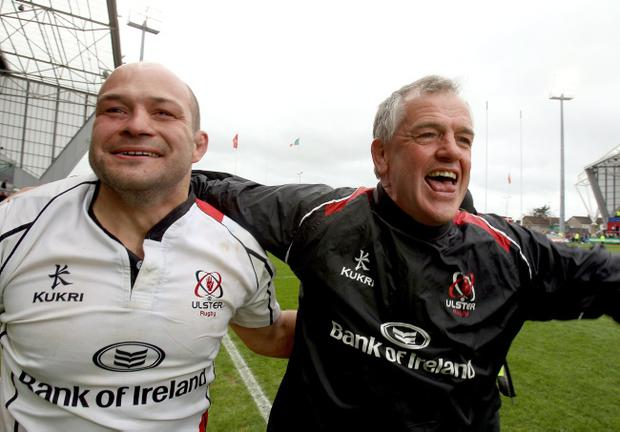 Ulster coach Brian McLaughlin (right) celebrates after Sunday's game with captain Rory Best