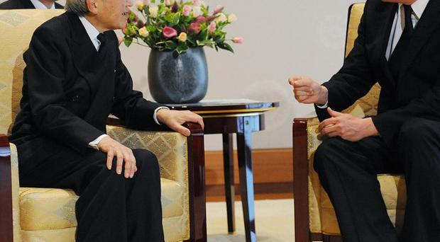 David Cameron meets Emperor Akihito at the Imperial Palace in Tokyo on the first day of his tour where he will also visit Indonesia and Malaysia