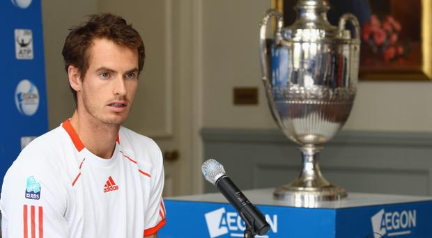 LONDON, ENGLAND - APRIL 10: Andy Murray of Great Britain talks to the media on the day that he committed playing at the Queen's Club for the next five years. Murray was at a tournament launch for the AEGON Championships at the Queen's Club on April 10, 2012 in London, England. (Photo by Julian Finney/Getty Images for The LTA)