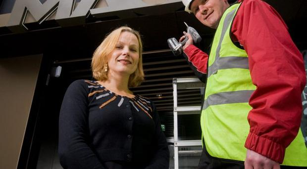 Mascott Construction director Alwyn Campbell joined MAC chief executive Anne McReynolds outside the MAC, which was constructed by Mascott and opens on April 20