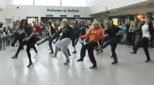 The flash mob entertaining travellers at Belfast Central Station