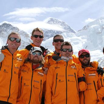 The Walking With The Wounded team in front of Mount Everest