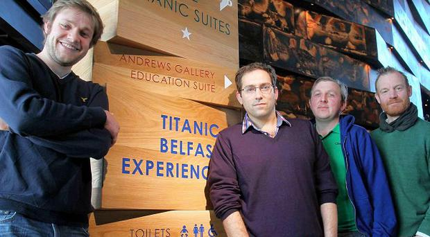 Cast and crew from the MAC's opening show Titanic - Scenes from the British Wreck Commissioner's Inquiry (PA/Presseye)