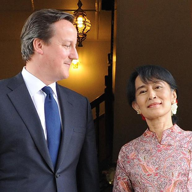 David Cameron meets pro democracy leader Aung San Suu Kyi at her Lakeside Villa in Rangoon, Burma