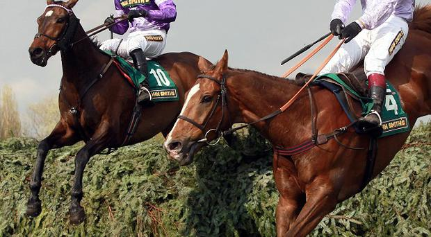 Always Waining (left) has Chance Du Roy to beat jumping the final fence