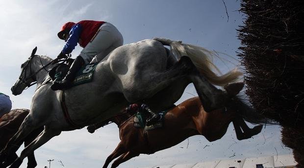 Runners and riders clear a fence at Aintree