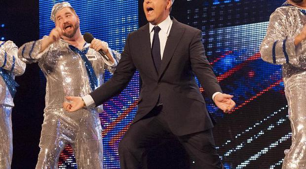 David Walliams joined the group on stage