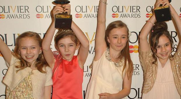 Winners of the Best Actress gong at the Olivier Awards 2012 Cleo Demetriou, Kerry Ingram, Sophia Kiely and Eleanor Worthington-Cox