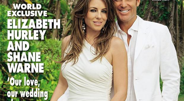 Liz Hurley and Shane Warne revealed they are planning wedding celebrations in the UK and Australia (Hello! Magazine/PA)