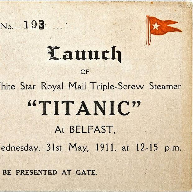 A ticket to the May 31 1911 launch of the RMS Titanic (AP/Bonhams Auction House)