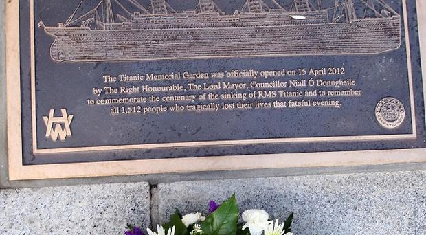A memorial plaque in the new memorial garden at Belfast City Hall, on the 100th anniversary of the sinking of the Titanic