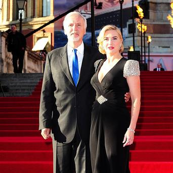 James Cameron with Titanic leading lady Kate Winslet