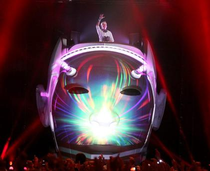 DJ AVICII performs onstage at the 2012 Coachella Valley Music & Arts Festival held at The Empire Polo Field on April 15, 2012 in Indio, California. (Photo by Mark Davis/Getty Images for Coachella)