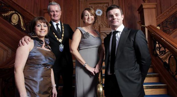 Brenda Morgan, bmi Sales Manager Ireland; NI Chamber President Francis Martin; Chief Executive Ann McGregor and rugby legend Brian O'Driscoll at the event