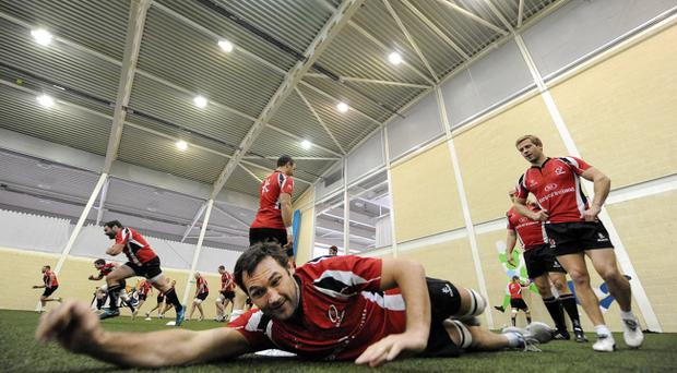 Pedrie Wannenburg with the Ulster squad at their indoor training session yesterday in Jordanstown