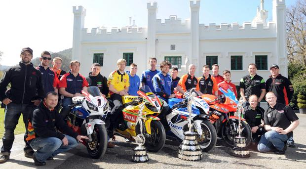 Line-up of bike aces at yesterday's 2012 TT launch