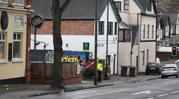 Police outside the The Hubb in the Sherwood area of Nottingham as a murder investigation has been launched into the death of a teenager who was injured outside the pub