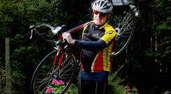 20.04.12. PICTURE BY DAVID FITZGERALDGeorge McGrath pictured with his Bicycle at his house on the Malone Road, Belfast as he is participating in this years Maracycle from Belfast to Dublin and back.