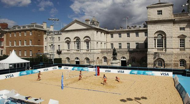 The Olympic rehearsals will mimic one of the days when beach volleyball will be played at Horse Guards Parade in central London