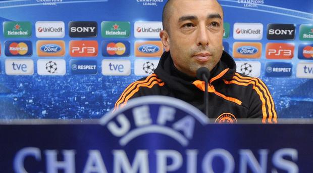 Chelsea's coach Roberto Di Matteo attends a press conference at the Camp Nou stadium in Barcelona, Spain, Monday, April 23, 2012
