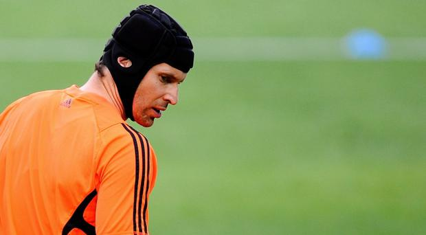 BARCELONA, SPAIN - APRIL 23: Goalkeeper Petr Cech of Chelsea FC looks on during a training session ahead of their UEFA Champions League semi-final second leg match against FC Barcelona at Camp Nou on April 23, 2012 in Barcelona, Spain. (Photo by David Ramos/Getty Images)
