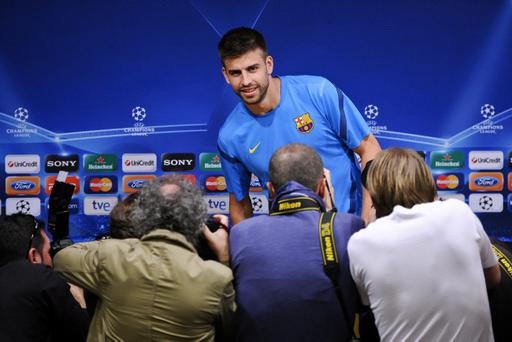 BARCELONA, SPAIN - APRIL 23: Gerard Pique of FC Barcelona speaks to the media during a press conference ahead of their UEFA Champions League semi-final second leg match against Chelsea FC at Camp Nou on April 23, 2012 in Barcelona, Spain. (Photo by David Ramos/Getty Images)
