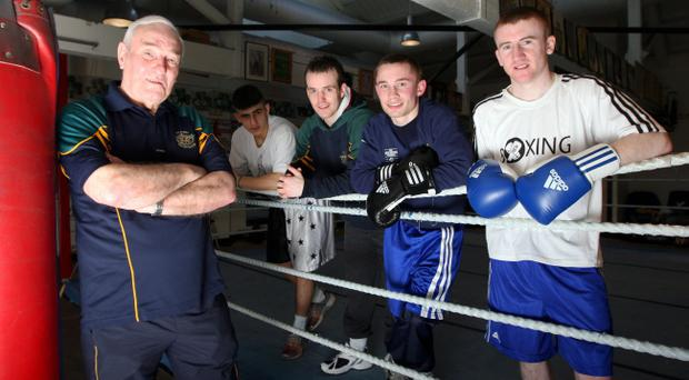 Gerry Storey along with Paddy Barnes (far right) Carl Frampton, Scott Jordan and Maxi Hashim