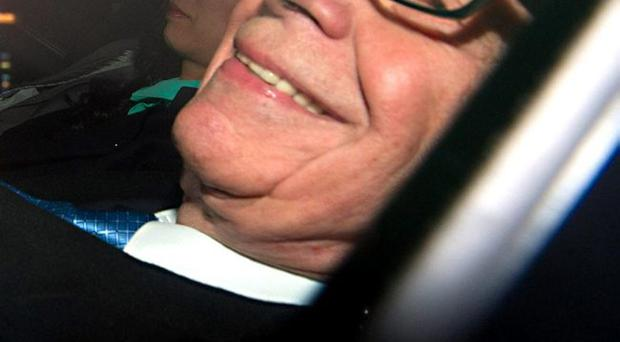 Rupert Murdoch leaving his home in Mayfair, central London to give evidence to the Leveson Inquiry April 25, 2012.