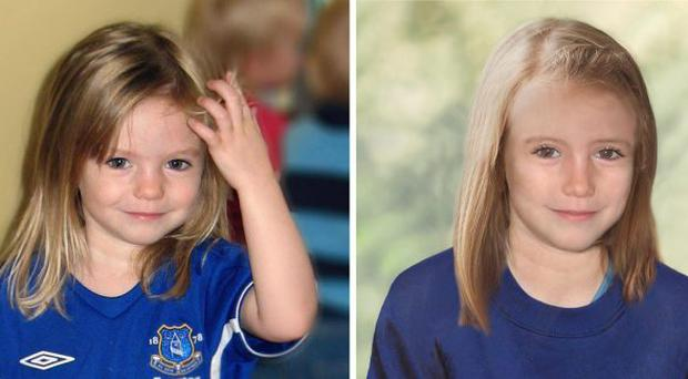 Photos showing four year old Madeine McCann with age progression image of the missing child.