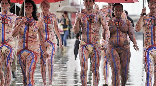 Body painted models help launch the NHS Blood and Transplant's appeal for donors to help boost stocks to 30 per cent above usual levels (NHSBT)