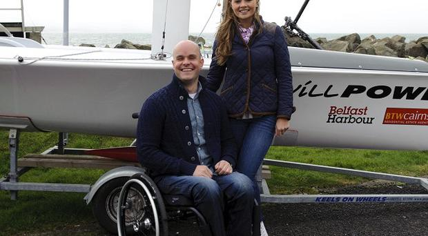 Blind adventurer Mark Pollock and Tiffany Brien are aiming to sail across the Irish Sea for charity (Nigel Thompson/Navigator Blue/PA)