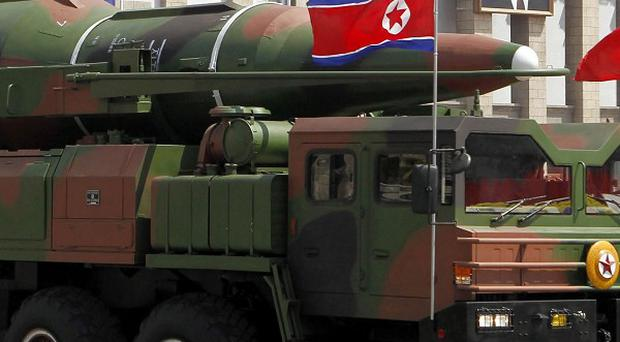 What appears to be a new missile is carried during a mass military parade in Pyongyang, North Korea (AP)