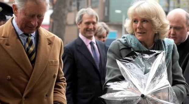 Prince of Wales and the Duchess of Cornwall visit St George's Church, High Street, Belfast. April 2012