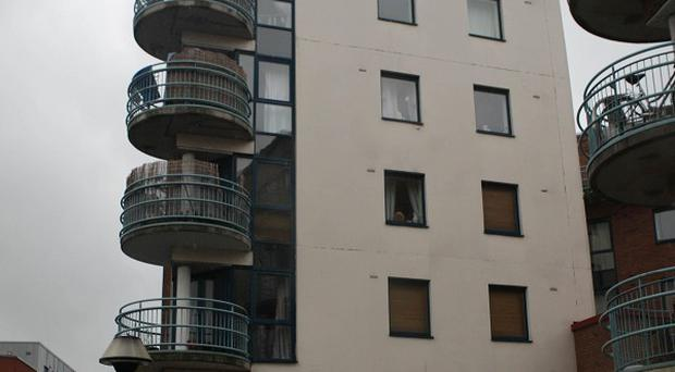 The apartment block in Inchicore, Dublin, where a two-year-old child fell from the window
