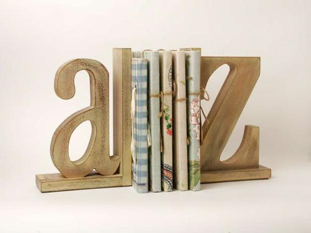 Limed-wooden bookends, £19.95