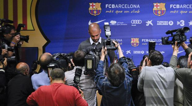 BARCELONA, SPAIN - APRIL 27: Head coach Josep Guardiola of FC Barcelona arrives to the press conference at the Camp Nou stadium on April 27, 2012 in Barcelona, Spain. Josep Guardiola has today announced he is not renewing his contract after a 4 year tenure as Head Coach of the FC Barcelona squad. (Photo by David Ramos/Getty Images)