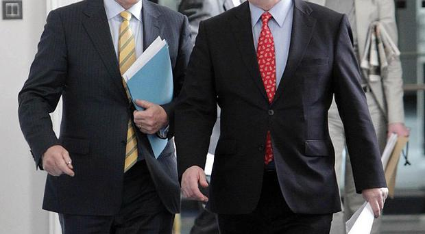 Taoiseach Enda Kenny with Tanaiste Eamon Gilmore who supported him against claims he fell asleep in a jobs announcement
