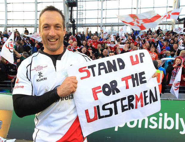 Ulster ÊStefan Terblanche celebrates victory over Edinburgh during Saturday's Heineken Cup Semi Final at the Aviva Stadium.