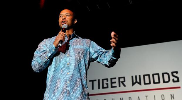 LAS VEGAS, NV - APRIL 28: Golfer Tiger Woods speaks at Tiger Jam 2012 at the Mandalay Bay Events Center April 28, 2012 in Las Vegas, Nevada. (Photo by Ethan Miller/Getty Images)