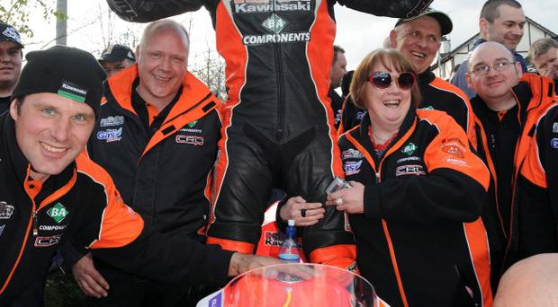 Ryan Farquhar (KMR Kawasaki) celebrates his victory in the feature race at the Cookstown 100