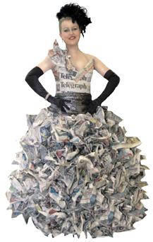 Dressed to impress: Frances Burscough models a paper dress designed by Jannie Kleinhans
