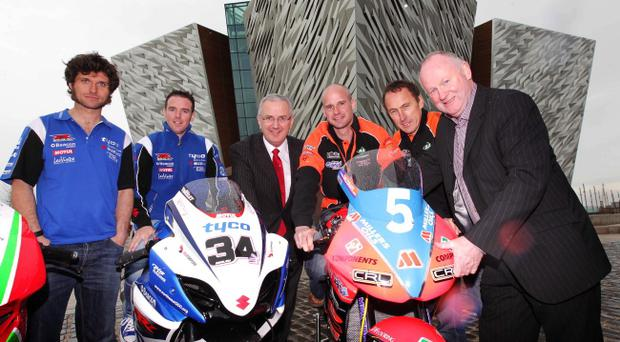 Guy Martin, Alastair Seeley, Danny Kennedy Minister for Regional Development, Ryan Farquhar, Jeremy McWilliams and Mervyn Whyte MBE pictured at the final press launch of the Relentless International North West 200