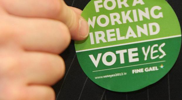 A member of Fine Gael as the party launches its campaign for a Yes vote in the upcoming Stability Treaty Referendum
