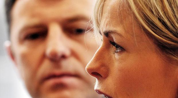 Gerry and Kate McCann talk to the media before a press conference in central London