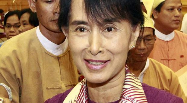 Aung San Suu Kyi said she would not give up the struggle for democracy in Burma (AP)