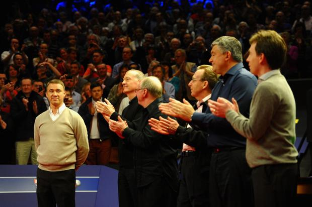 SHEFFIELD, ENGLAND - MAY 02: Stephen Hendry of Scotland waves goodbye to snooker in front of Ex World Champions Steve Davis, Dennis Taylor, Terry Griffiths, John Parrott and Ken Doherty before the Betfred.com World Snooker Championship Quarter Final match at Crucible Theatre on May 2, 2012 in Sheffield, England. (Photo by Laurence Griffiths/Getty Images)