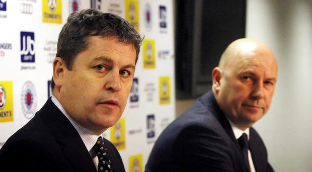 Administrators David Whitehouse and Paul Clark during a press conference at Ibrox Stadium, Glasgow.
