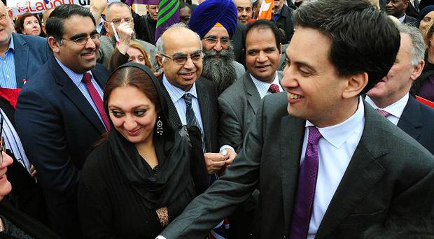 Labour leader Ed Miliband celebrates the party's local election gains in Victoria Square, Birmingham