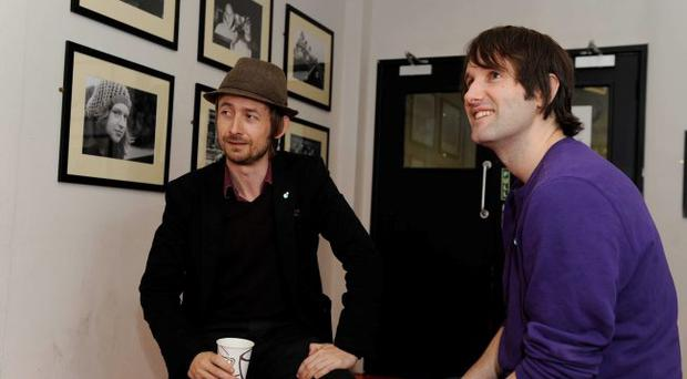 Neil Hannon of The Divine Comedy with Ash singer Tim Wheeler at the Oh Yeah Centre in Belfast