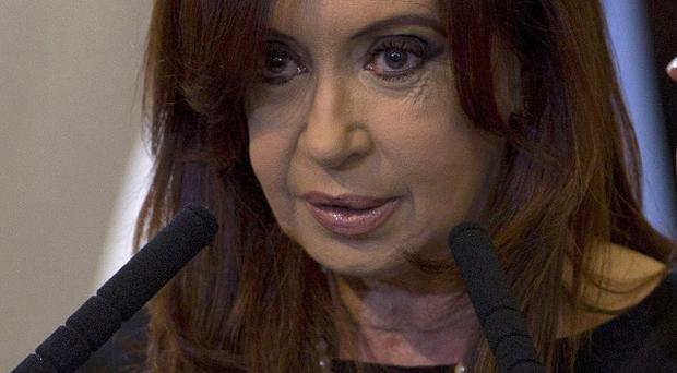 Argentina's President Cristina Fernandez speaks after signing into law the takeover of the YPF oil company in Buenos Aires (AP)